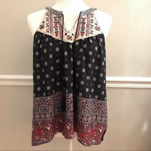 Altar'd State Sleeveless Blouse Small Navy Floral